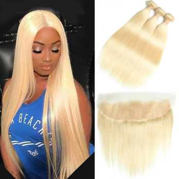 Beaudiva Straight Hair #613  Color Human Hair Blonde Bundles With Frontal Brazilian Hair Weave Bundles With Lace Frontal