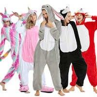 Kigurumi Unicorn Pajamas Adults Warm Winter Sleepwear Animal Stitch Panda Pyjamas Women Onesie Kids Boys Girls Anime Jumpsuit