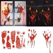 2P Halloween Decor Zombie Ghost hands feet Wall Sticker Horror Scary Blood Sticker For Halloween Haunted house Masquerade Party scary ghost 3d broken wall art sticker