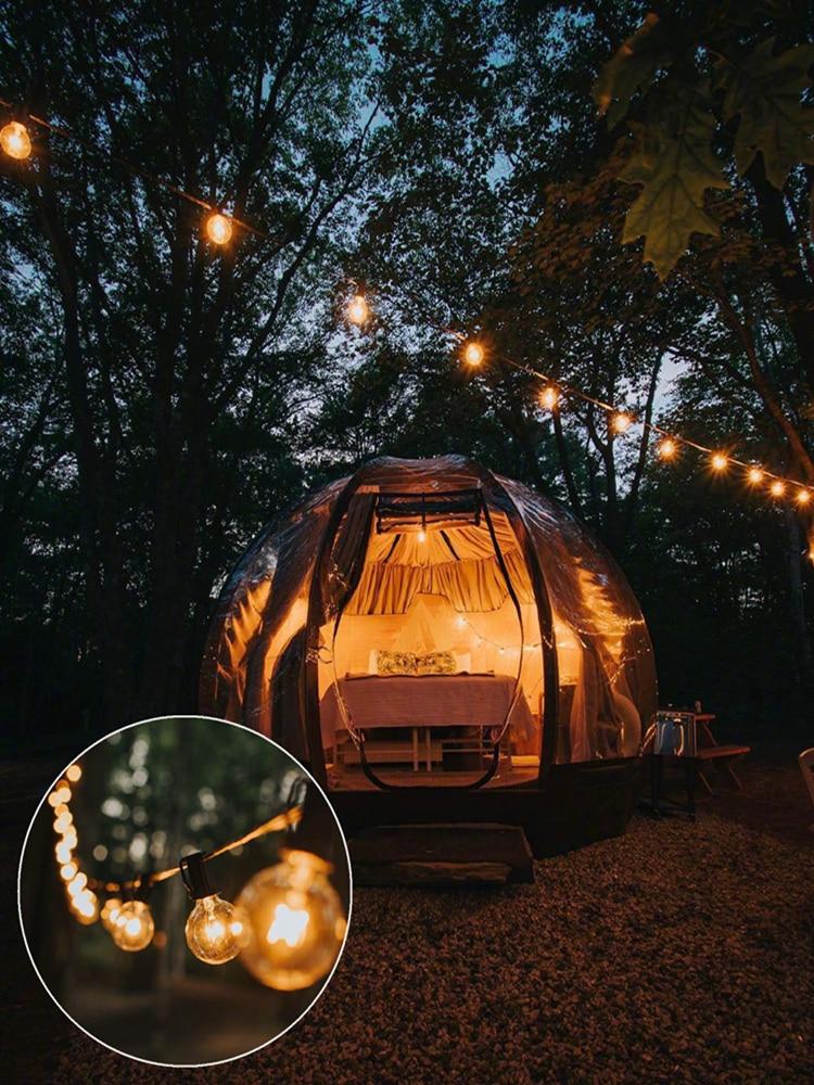 Umbrella Garland Led-Bulb Solar-Panel-Lamp Garden-Light Edison Outdoor Christmas Retro