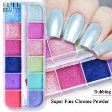 12 Grid Magic เล็บ Chrome ผง RUB Pearl Fine ที่มีสีสัน Shimmer Dipping Glitter Nail Art Pigment ตกแต่งเล็บ CHZGF