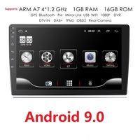 9 INCH Android 9.0 GPS Navigation Autoradio Multimedia DVD Player Bluetooth WIFI MirrorLink OBD2 Universal 2Din Car Radio Camera