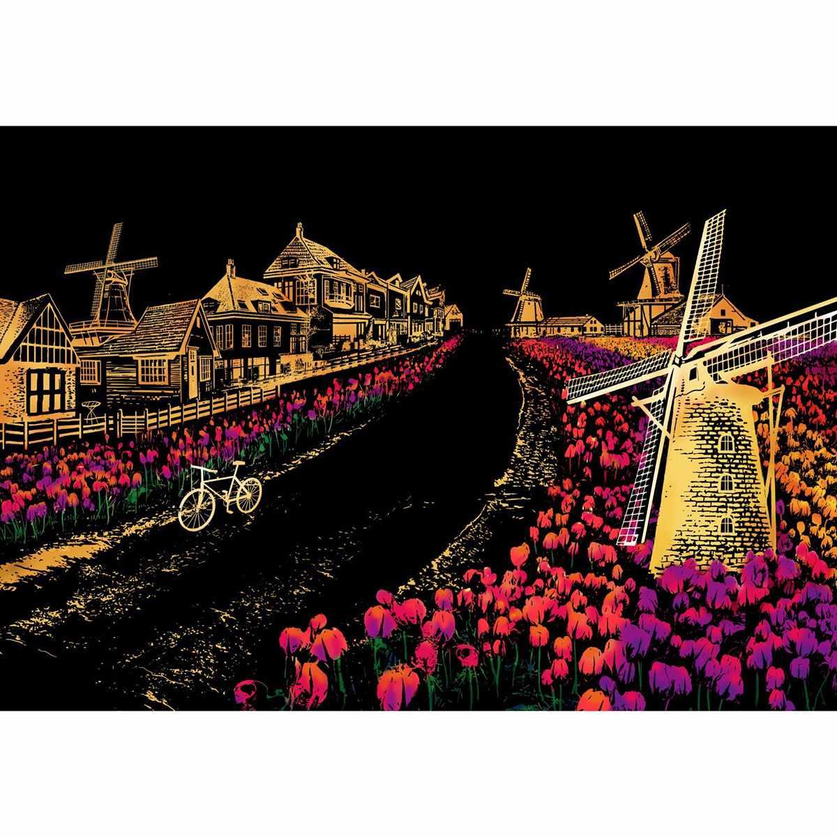 Moulin à vent dans un champs de tulipes