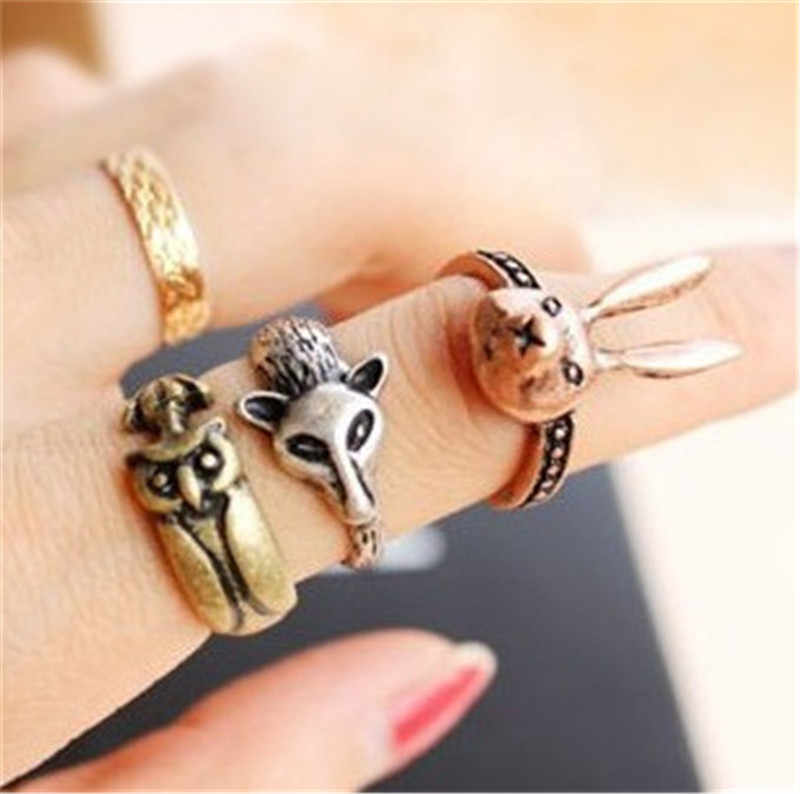 Wholesales! 2019 New Hot retro Small Rabbit Fox Owl Ring Jewelry Accessories !