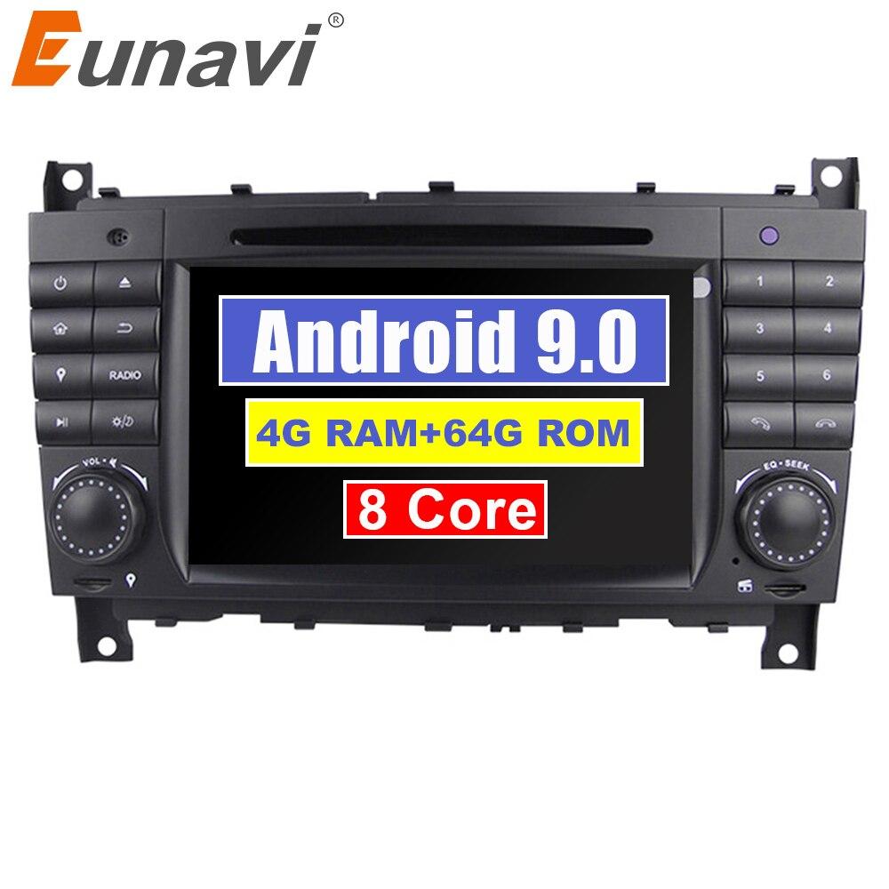 Eunavi 8 Kerne 2 Din Android 9 auto radio dvd gps für Mercedes/Benz W203 W209 W219 W169 A160 c180 C200 C230 C240 CLK200 CLK22 DSP