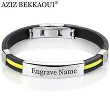 AZIZ BEKKAOUI, 5 цветов, браслеты из нержавеющей стали для женщин и мужчин, резиновый ID браслет, браслеты, индивидуальный логотип, пара ювелирных изделий, подарок