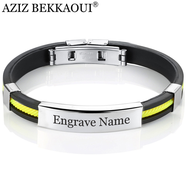 AZIZ BEKKAOUI 5 Colors Stainless Steel Bracelets for Women Men Rubber ID Bracelet Bangles Customized Logo Couple Jewelry Gift