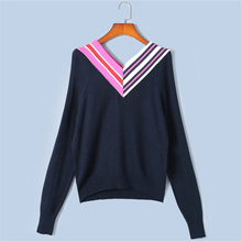 Tunjuefs Retro V-Neck Stripes Sweater Women Jumper Loose Tops Knit Sweater Runway 2019 New Autumn Long Sleeve Pullovers Winter
