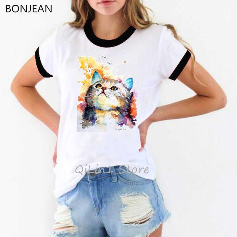 Suluboya kedi ve kelebekler baskılı tişört gömlek femme vintage t shirt kadın estetik elbise tumblr özel tişört sevimli top