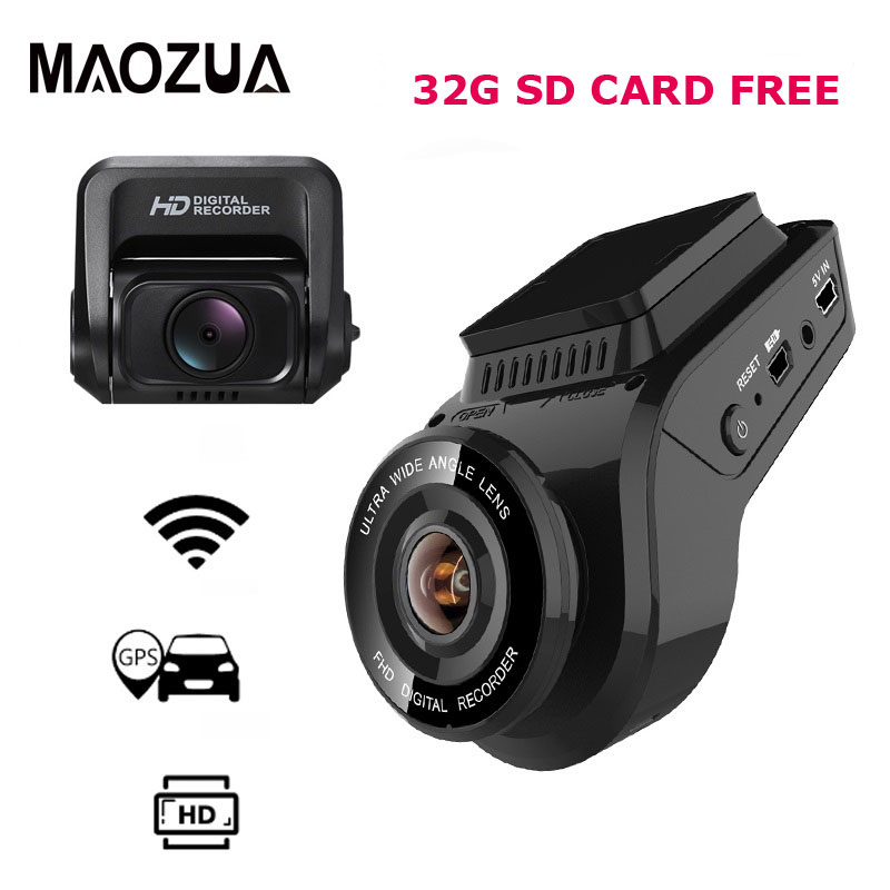 Carro traço cam 2160 p 4 k ultra hd com 1080 p câmera traseira wifi gps logger adas dupla lente dashcam carro dvr visão noturna + 32g cartão sd