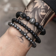 Lion Crown Sport  Bracelet Sets Trendy Handmade Classic Strand Stone Beaded Bracelet Pulsera Hombre male bracelet