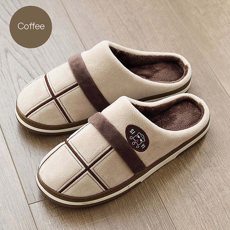 Big Size 40-50 Men's Cotton Slippers Winter Home Shoes For Men Plush Non-slip Thick-bottom Indoor Warm Memory Foam Mens Slides