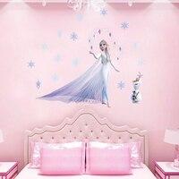 De dibujos animados de Disney congelado 2 princesa 30*60cm pegatinas de pared para habitaciones de niños casa decoración Diy Elsa Olaf de calcomanías de pared de Pvc arte Mural