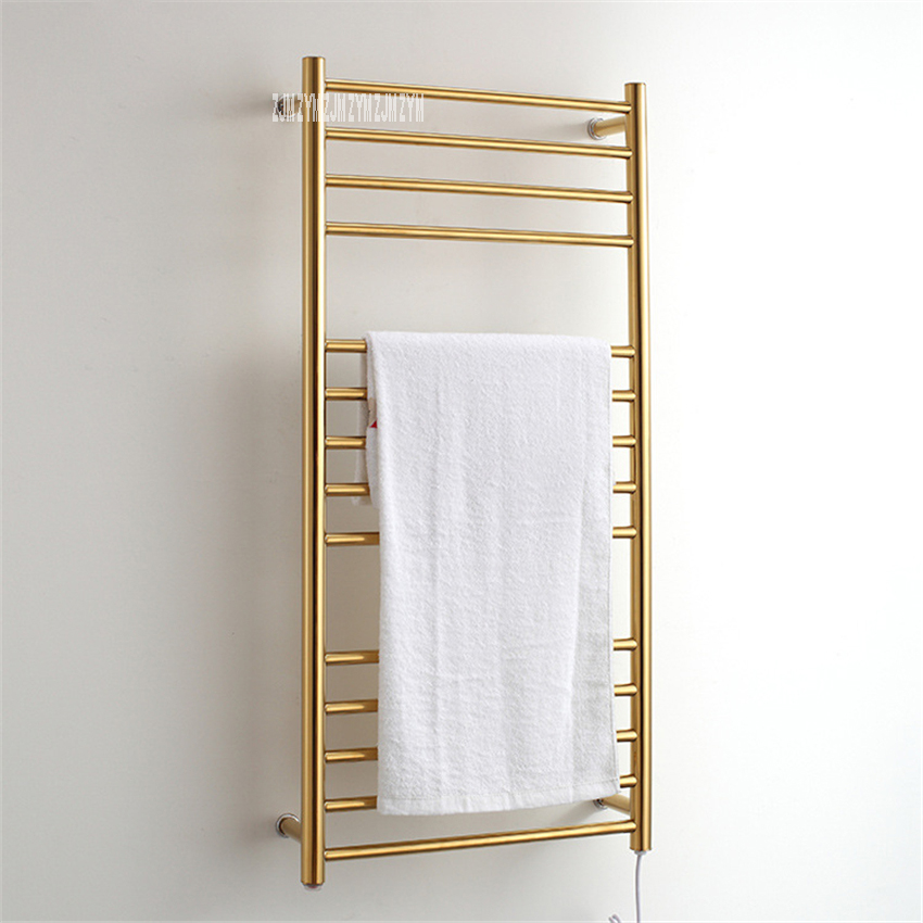 9006 Bathroom 304 Stainless Steel Gold Heated Towel Warmer Waterproof Grade Ip56 Electric Heating Towel Rail Rack 162W 110V/220V
