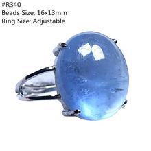 Anillo de OCéANO AZUL aguamarina Natural genuina, joyería para mujer, hombre, cuentas de cristal ovaladas transparentes, anillo ajustable de piedras preciosas de plata AAAAA