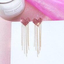 925 Silver Needle Drill Loving Earrings Long Temperament Liusu Girl Heart Drop ins Fashion Simple  tassel earrings