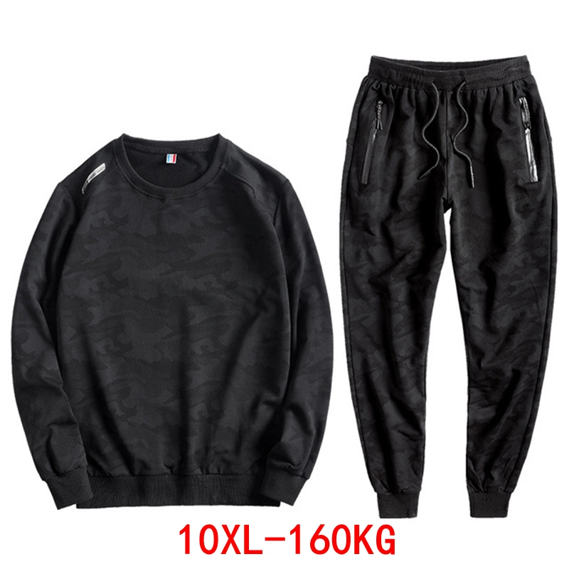Large Size Men's Camouflage Sports Suit Plus Size 6XL 7XL 8XL 9XL 10XL Spring And Autumn Loose Large Elastic Black Sweatpants