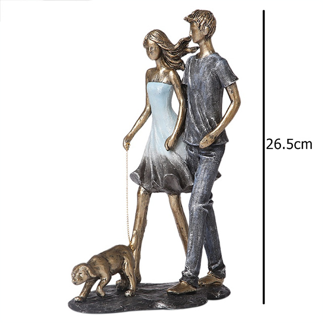 Couple Walking With Dog Handmade Resin Statue