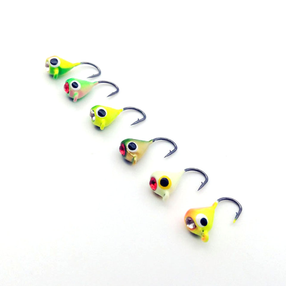 6PCS/Lot Winter Ice Fishing Hook Lure Quality Mini Metal Bait Fish 1.5cm 1.1g Lead Head Hook Bait Jigging Fishing Tackle