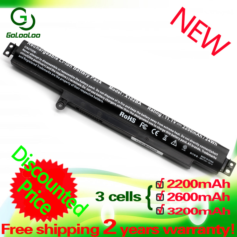 Golooloo 3 Cell 2600MaH 11.1V Battery For ASUS A31N1311 VivoBook X102B F102B X102BA F102BA F102BA-SH41T F102BA-DF047H