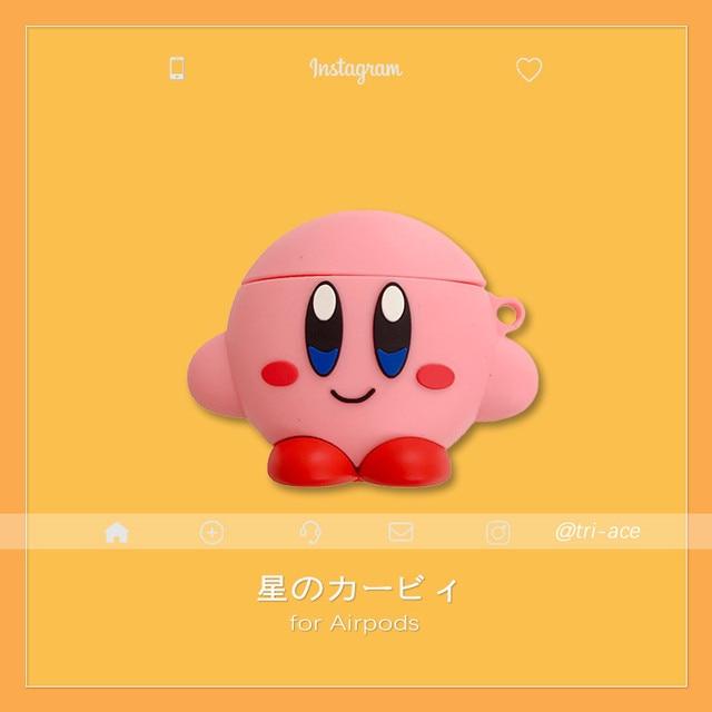 3d bonito japão dos desenhos animados kirby estrela aliados fones de ouvido casos para apple airpods 1/2 silicone proteção capa acessórios
