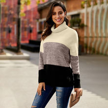 Женский свитер с высоким воротником Зимний вязаный пуловер длинным