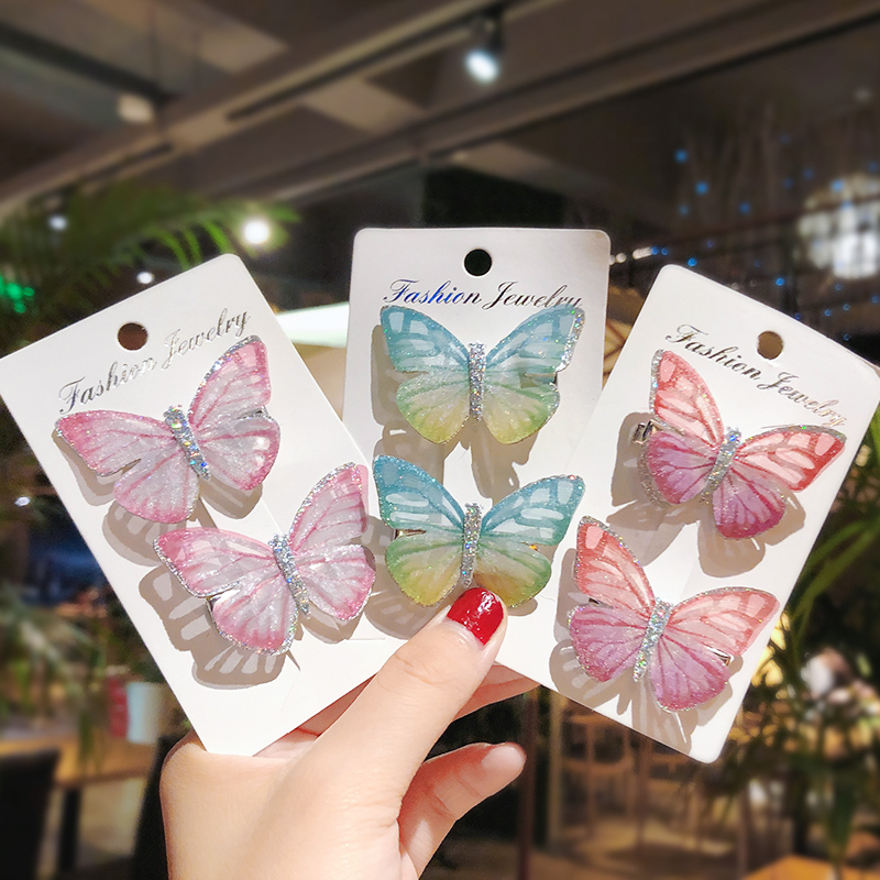 2Pcs/Pack Girls Beautiful Colorful Simulation Butterfly Hair Clips Sweet Hair Ornament Headband Hairpins Kids Hair Accessories