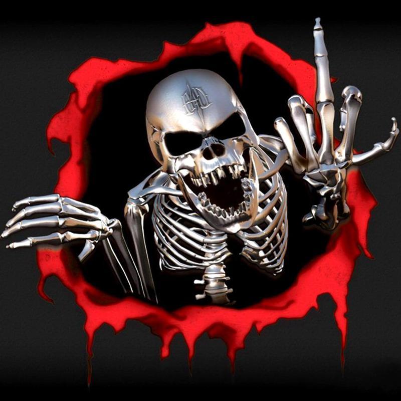 1 Pc Terror Rock Sticker Pack Skeleton Dark Skull Stickers For Bag Toy Stickers Wholesale
