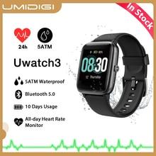 Umidigi uwatch3 smartwatch para homens e mulheres, à prova d água 5atm, rastreador de fitness, monitoramento de frequência cardíaca e sono, para android e ios