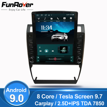 "Funrover 9.7"" Tesla Style For Audi A6 S6 RS6 Car Radio Multimedia Video Player android 9.0 no dvd gps navi octa core 2.5D IPS FM"