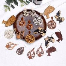 VIVILADY Natural Artesanal De Madeira Escultura Oca Brincos Jóias Bijoux Mulheres Brincos Africano Exagerada Do Vintage Outono