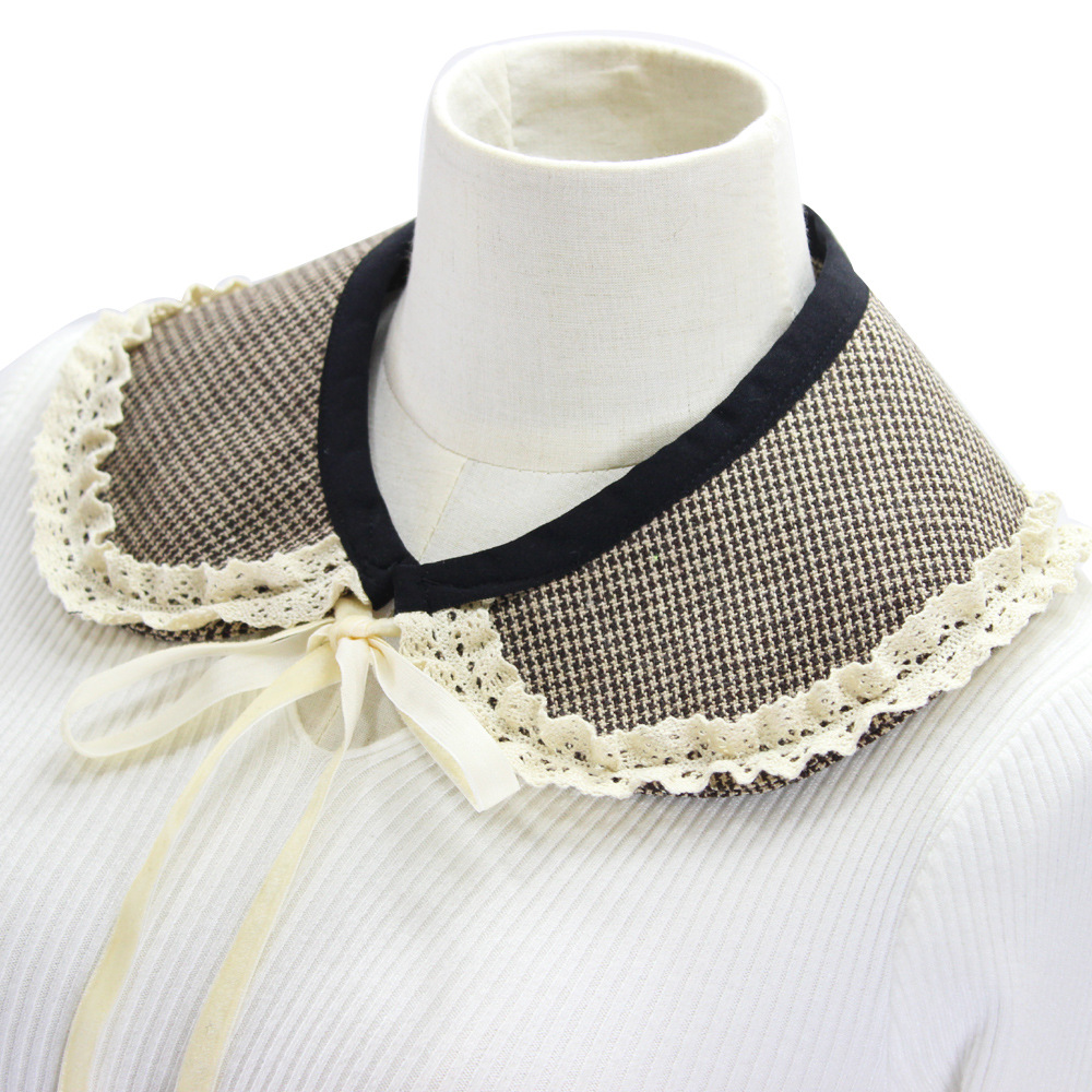 2020 Lace Floral Fake Collars for Women Doll Lapel Plaid Detachable Collar Sweater Blouse Tops Neck Shawl Wrap False Collars
