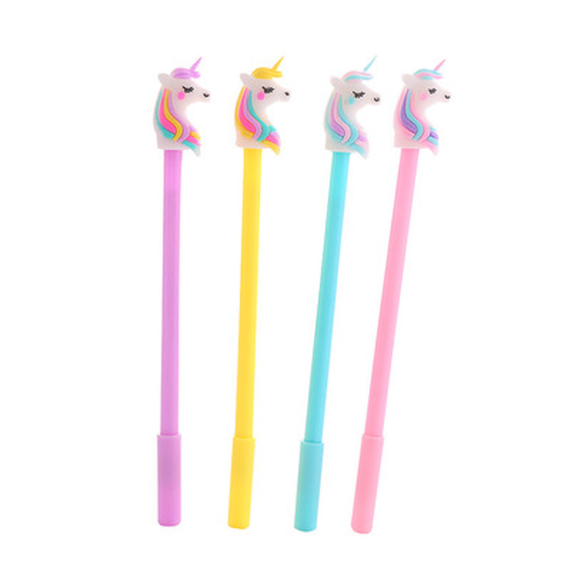Unicorn Cute Pens Stationery Gel Pen 0.5mm Novelty Cartoon Kawaii Pen Student Stationery Black Gel Pens Kawaii School Supplies