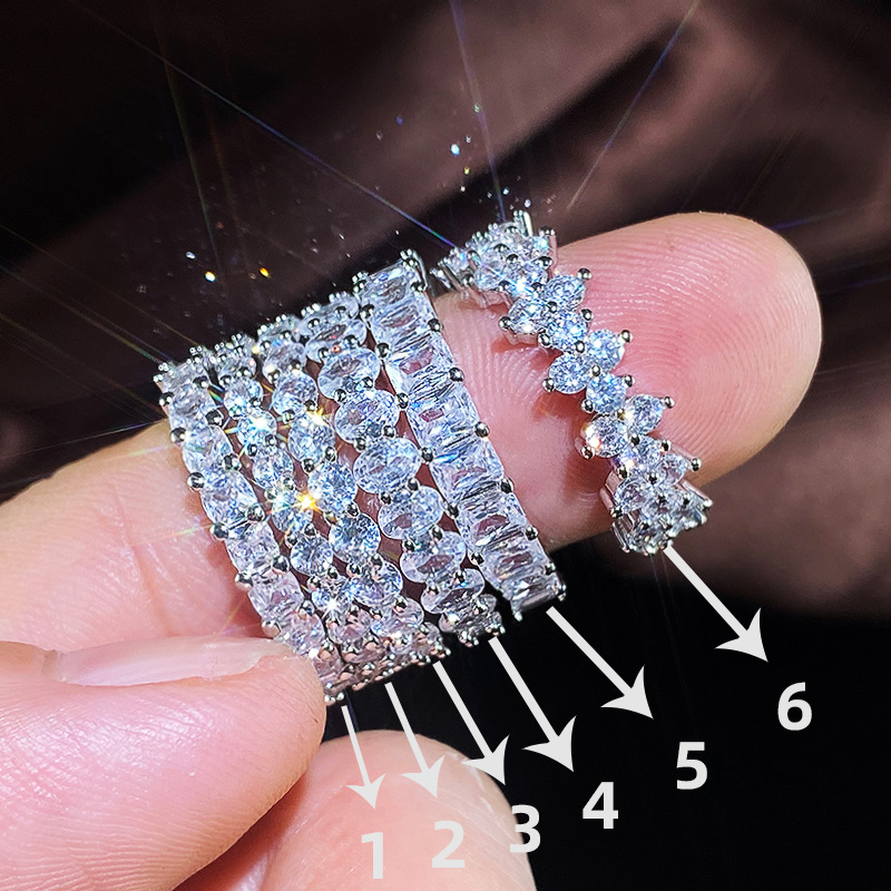 Huitan Fashion Luxury Women Ring Micro Paved Big Round/Square/Oval CZ Promise Ring Wedding Jewelry Wife's Love Gift High Quality