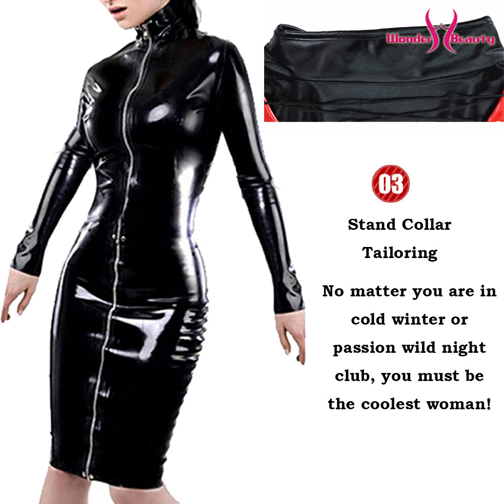 leather pencil dress sexy black pvc leather gothic midi dress lace up bondage latex clubwear long zipper wetlook vinyl dresses (5)