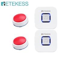 Retekess avisador inalámbrico TH003 para el cuidado de ancianos, sistema de alerta para llamada de enfermera, ayuda al paciente, sistema de alerta para el hogar
