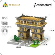 YZ 055 World Famous Architecture Arch of Triumph Gate 3D Model Mini Diamond Building Small Blocks Bricks Toy for Children no Box цена