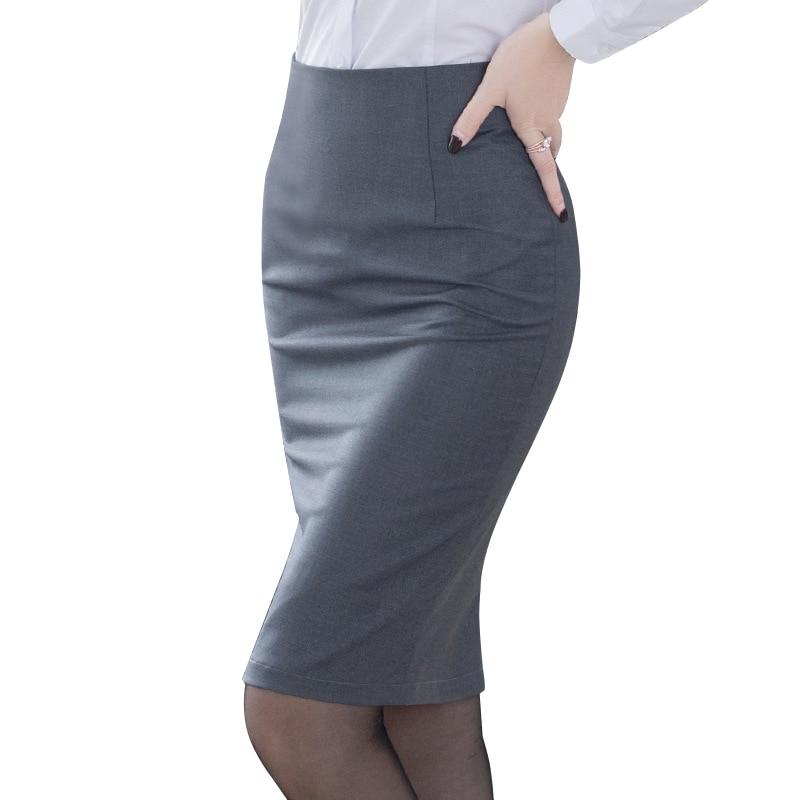 Elegant Women's Pencil Skirt New Fashion Korean OL Style Plus Size High Waist Knee Length Work Office Bodycon Skirt 1