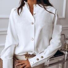 Женская модная рубашка с длинными рукавами Повседневная и пуговицами