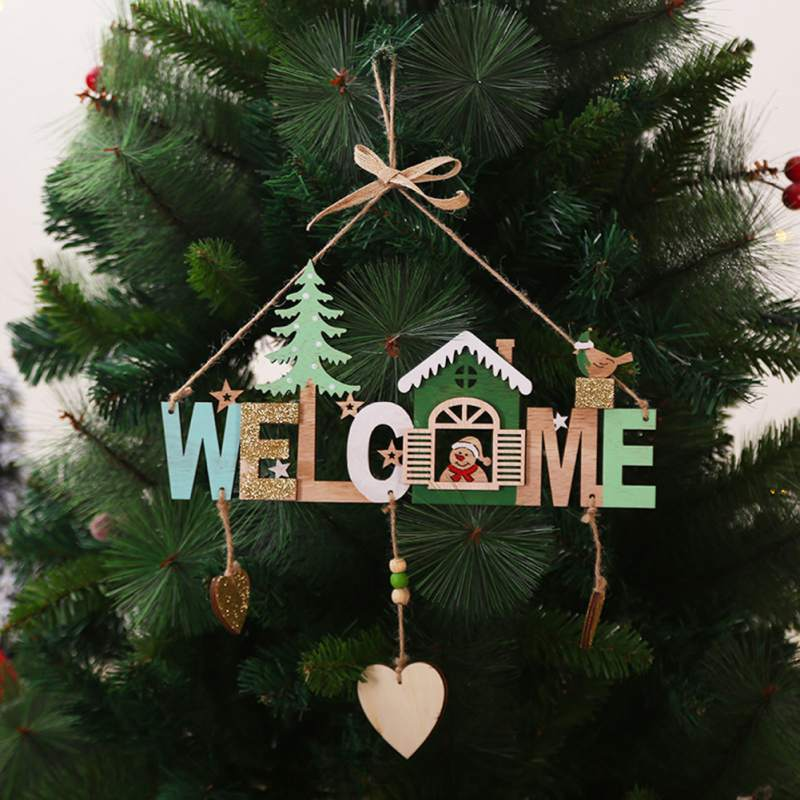 New Christmas Wooden Style Chime String Listing Welcome Sign X210 Letter Santa Claus Hanging Five Stars