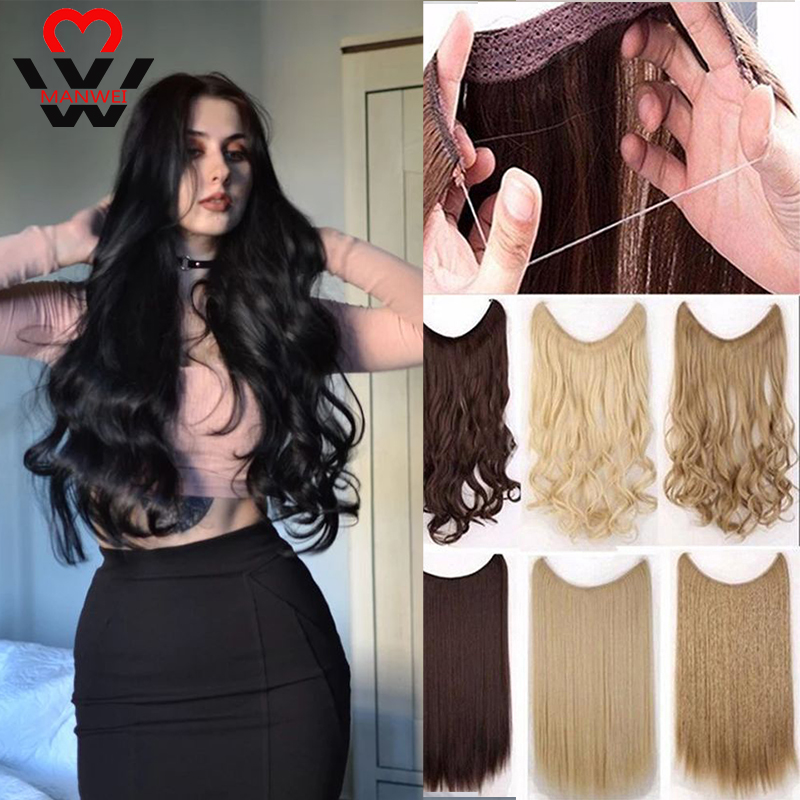 MANWEI 24inch 60cm   Black Blonde Women Hair Wavy False Hairpiece Synthetic Long Fish Line  Invisible Hairpieces