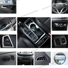 Lsrtw2017 Stainless Steel Car Window Control Gear Door Bowl Panel Frame Trims for Hyundai Tucson 2015 2016 2017 2018 lsrtw2017 stainless steel car lower window trims for peugeot 5008 accessories