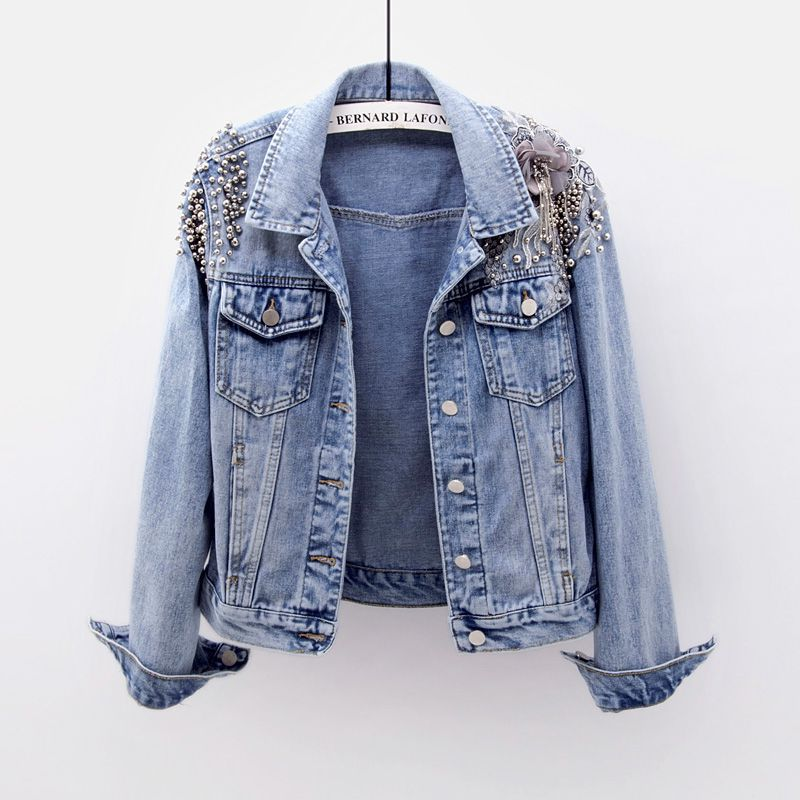 Vintage Heavy Work Beading Embroidery Flowers Denim Jacket Women Outerwear Plus size Loose Casual Female Short Jeans Jacket Coat