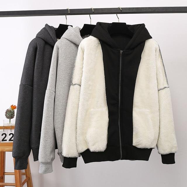 Jacket women solid color hoodies 2020 autumn winter imitation lamb wool korean loose plus velvet thick zipper sweatshirt tops 5