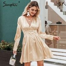 Simplee sexy vestido de cetim com decote em v, feminino, manga longa, plissado, outono, inverno, feminino, mini vestidos, moda, festa, clube, mulheres