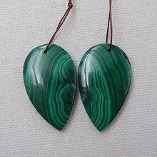 قطرة الماء اللون الأخضر المنتجات شبه المصنعة الحجر الطبيعي الملكيت اليدوية أقراط للنساء 33x20x5 مللي متر 14.7 جرام