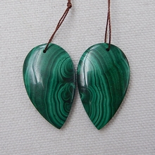 Water Drop Green Color Semi Finished Products Natural Stone Malachite Handmade Earrings For Women 33x20x5mm 14.7g
