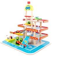 Toy Car Children's Toy Car Toy Model Car Wooden Puzzle Building Slot Track Rail Transportation Parking Garage