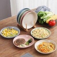 Наборы тарелок из пшеничной соломы, 4 шт., голубой, розовый, зеленый, бежевый, экологически чистый поднос для еды, десерта, Кухонное украшение,...