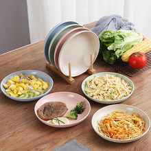 4 PCS Wheat Straw Plates Sets Blue Pink Green Beige Eco-friendly Tray Food Dessert Kitchen Decoration Multifunctional Utensil(China)